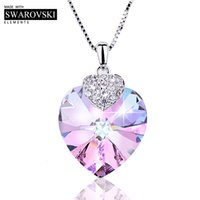 Wholesale heart shaped amethyst pendant resale online - Swarovski Necklace for Women Heart Shape Amethyst Crystal Pendant Necklace Fine Jewelry Choker Necklace Gift for Lady Collares V191202