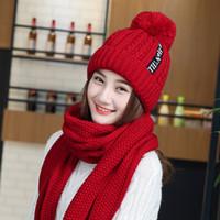 Wholesale pink black scarves resale online - Winter Women Hats Scarf Thick Beanie Hat Women Warm Knitted Cap Fashion Casual Skullies Hats Bonnet Cap Gorras Long Scarf Solid