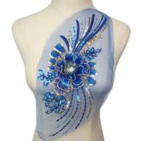rhinestone azul vestidos de novia al por mayor-Royal Blue Gold Sequined 3D Flower Rhinestone de la borla apliques de malla de encaje bordado coser en parches para el vestido de boda decoración de bricolaje