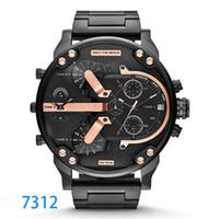dz acero al por mayor-Múltiples zonas horarias Reloj de pulsera Montre luxe Reloj militar Correa de cuero 53 MM Dial grande Reloj de acero inoxidable DZ para hombres Reloj deportivo