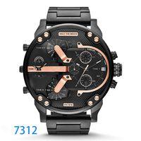 multi clock оптовых-Наручные часы с несколькими часовыми поясами Montre luxe Военные часы Кожаный ремешок 53MM Большой циферблат DZ Часы из нержавеющей стали мужские спортивные кварцевые часы