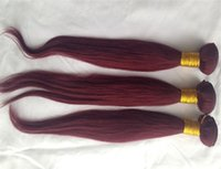 12-дюймовые человеческие волосы 99j оптовых-Бразильский # 99j красный цвет вина прямые выдвижения волос 10 до 28 дюймов выдвижения человеческих волос 100% 6A Unprocessed Виргинский Weave волос