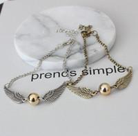 europa-perlen-art und weisearmband großhandel-Europa Modeschmuck Damen Vintage Armband Perle Winkel Flügel Kette Armbänder S155