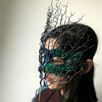 high end künstliche blumen großhandel-Venedig High-End-Zweig künstliche Blume Maske Halloween Cosplay Party Maske Weihnachten Bühne Catwalk übertrieben Kopfbedeckungen