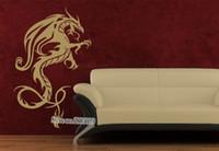 ingrosso disegni materiali cinesi-Decorazioni per la casa in stile cinese Adesivo murale drago asiatico Adesivo smontabile Materiale PVC Design Adesivo per soggiorno murale