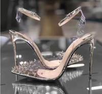 kristal stiletto düğün ayakkabıları toptan satış-Yeni Kırmızı Alt Yüksek topuklu Hakiki deri Kadın Kristal Kadın pompaları Yüksek Topuklu Sivri Burun Perçin Düğün Ayakkabı Tam Orijinal Ambalaj