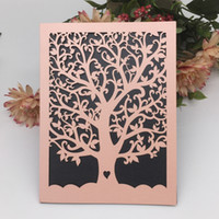 Wholesale easter party themes resale online - 35PCS Hollow Laser Cut Wedding Invitation Lovely Tree Anything Theme Party Grand Events Easter Festival Invitation Cards Supplies