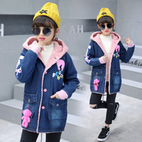 Wholesale new girl fashion jeans for sale - Group buy New Fashion Girls Denim Jacket Kids Winter Jackets With Berber Fleece Outfits Children s Jeans Slim Long Warm Outerwear Coats
