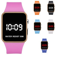 espejo de silicona relojes al por mayor-Moda Relojes LED Hombres Mujeres Deportes Relojes de pulsera digitales Calendario Fecha Silicona reloj impermeable Espejo Reloj despertador Reloj