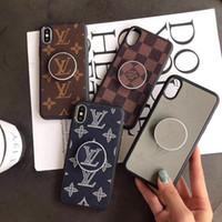 huawei yükselen dostum deri kapak toptan satış-iPhone 11 Samsung S8 S9 S10 artı 8/9 Not için braket ile Pro Max 6/7/8 artı XS MAX XR PU deri Lüks Tasarımcı Telefon Kılıfları