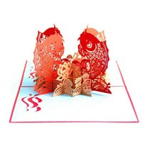 ano novo 3d feito à mão venda por atacado-O Multi-cor Peixe Koi 3D Pop up Cartão Cartão Postal Correspondência Envelope Handmade Feliz Ano Novo Aniversário Cartão Postal Primavera