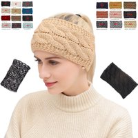 vendas de moda de invierno gorros al por mayor-Diadema de punto 20 colores Winter Warmer Head Wrap Hairband Acrílico Crochet Fashion Hair Band Beanie Hair Accessories 50pcs OOA7144