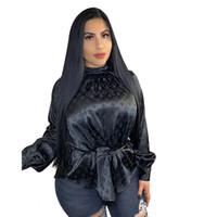 ver a través de cuello cuello camisa al por mayor-Nueva carta de las mujeres de cuello alto impresos de moda casual camisa blusas de la camiseta de otoño atractivo Ropa top S-XXL