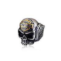 велосипедные кольца для черепа оптовых-Мужская Большой Размер Нержавеющая сталь байкер панк круто харли скелет кольцо хип-хоп ювелирные изделия череп кольцо для мужчин