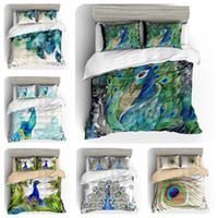 Wholesale peacock bedding sets resale online - 3d watercolor Peacock bedding cross border four piece set Amazon d printed home textiles selling like hot cakes