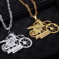 Wholesale gothic motorcycle for sale - Group buy Hip Hop Jewelry for Men Jewelry Punk Vintage Gothic Ghost Rider Pendant Stainless Steel Motorcycle motor bike Pendant Necklace Men Necklaces
