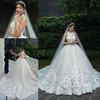 Wholesale sequin arabic dresses resale online - Dubai Arabic Luxury Lace Muslim Bride Wedding Dresses Ball Gown Sleeveless Cross Tulle Bridal Wedding Gowns Plus Size Robe De Mariee
