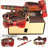 Wholesale plaid dog collars for sale - Group buy Red plaid pet collar pet bow leash set dog collar pet supplies01