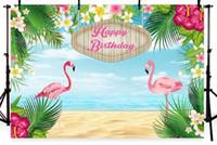 blumen vinyl kulisse großhandel-7x5FT Blumen Blumen Palme Sandstrand Alles Gute zum Geburtstag Flamingo Benutzerdefinierte Fotostudio Hintergrund Hintergrund Vinyl 220 cm x 150 cm