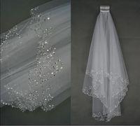 véu de noiva de casamento feito à mão venda por atacado-Luxo Véus De Noiva Véu De Noiva Véu de Noiva 2-Camada Frisado Crescente borda Acessórios De Noiva Véu Branco e Marfim cor em estoque