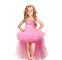 ingrosso nastro rosa blu-Tutu Pink Tulle Girl Dress Gonne Bambini Principessa Handmade Mesh TUTU Abiti con nastri Bow Per Birthday Wedding Party