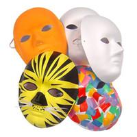 ingrosso maschera di protezione completa-5Pcs Plain Fancy Dress fai da te dipinta a mano Costume White Face Mask Non verniciato vuoto Uomo Donna Cosplay adulti biodegradabile partito