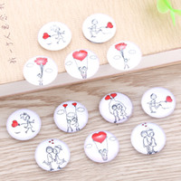 Wholesale love jewelry findings resale online - TYLFNL mix Beautiful love Pattern Round Glass Cabochon mm mm Dome Flat Back DIY Jewelry Finding S