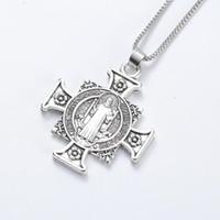 pingentes antigos china venda por atacado-Quis Et Dues Saint Michael Cruz Medalha de Prata Antigo Prata Pingente Colares N1729 24inches Tradicional Grande Crucifixo Pingente Colares