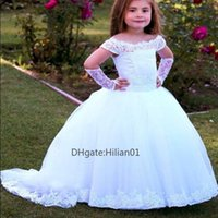 ingrosso abito da festa su ordine della ragazza-Bianco Tulle principessa Dress migliore ragazza di fiore abiti senza maniche Custom Made Pageant abiti Soffici pizzo per Ragazze comunione abiti 2020