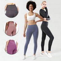 Wholesale yoga pants suit resale online - LU Solid Women yoga pants Lu High Waist Sports Sports Full Legging Yoga suit Sports Full Legging
