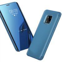 cajas de teléfono antichoque al por mayor-Caja del espejo plateado de cuero artificial antichoque del tirón de la cubierta del teléfono móvil para Huawei P10 P30 mate20 Pro mate10 P30pro