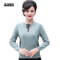 mais tamanho arco suéter venda por atacado-XJXKS Camisola de Malha De Lã Arco Lace Up Moda Mulheres Pulôver Plus Size Manga Longa Mulheres Blusas