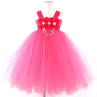 fuşya pembe kız elbiseleri toptan satış-Yeni Bebek Kız Giysileri Fuşya Çiçek Kız Elbise Pembe Kız Çocuklar Için Fuşya Perişan Çiçek Tutu Elbise Çocuklar Peals Kızlar Tutu Elbiseler J190706
