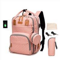 Wholesale pink diapers resale online - Large Capacity Waterproof Maternity Backpack Mommy Backpack USB Nappy Diaper Bag Mother Handbag Outdoor Nursing Travel Bag LJJP32