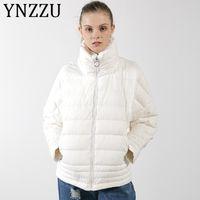 ingrosso bianche eleganti giacche invernali-YNZZU Ultra Light Stand Collar Warm Winter Jacket Women Elegante White Pink Lady Loose Down Coat 2019 Autunno Outwear A1095