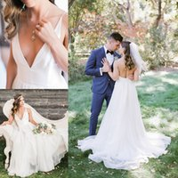 Wholesale rustic natural wedding dresses online - Chic Rustic Style A Line Wedding Dresses V Neck Backless Ruffles Tulle Satin Beach Boho Wedding Dresses Bridal Gown Hot Sale
