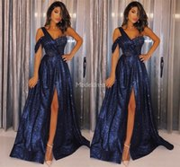 Wholesale gown online - Charming Biling Evening Dresses One Shoulder Side Split Sparkly Sweep Train Formal Party Prom Gowns Sexy Special Occasion Dress Hot Vestidos