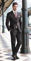 diseñador de esmoquin gris al por mayor-Diseñador de Esmoquin 2019 Gris Oscuro Hombres Esmoquin de Dos Botones Slim Fit Formal Fiesta Novio Trajes (chaqueta + Pantalones + chaleco + corbata)