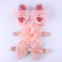bebekler tüy baş bantları toptan satış-3 Adet / takım Yenidoğan Bebek Kafa + Çorap Sevimli Taç Yaylar Bebek Kız Bantlar Bebek Kız Saç Bandı Haarband Bebek Saç Aksesuarları DHL LE351