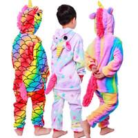 sevimli kıyafetler giyen çocuklar toptan satış-Sevimli Unicorn Nightgowns Bebek Kız Bornoz Flanel çocuklar Kapşonlu Tek parça Pijama Çocuk Gece Giyim Giysi Ev Cosplay Pijama RRA1685
