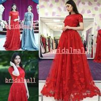 ingrosso eleganti corti vestiti rossi maniche lunghe-3D-Floral Appliqued Lungo Rosso Arabo Prom Dresses Elegante O-Collo Abiti da sera formale Maniche corte Vestito da partito Personalizzato Vestidos de fiesta