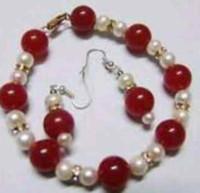 pulseras rojas de jade blanco al por mayor-Joyas -Hermoso brazalete de perlas blanco jade 6-7mm rojo de 10mm 7.5 '' conjunto de aretes
