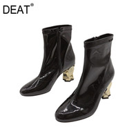 Wholesale bright boots for sale - Group buy DEAT Round Toe Zipper Bright Leather Casual Personality Pu Leather Shoes Women Boots New Autumn Winter Fashion F828