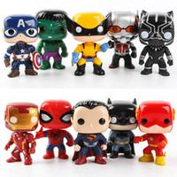 Wholesale superman iron man hulk batman resale online - Avengers Alliance Toys pc set Funko POP iron and Steel man captain of the United States Iron Warrior hand run ornaments high CM
