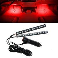 интерьер красной полосы оптовых-12 LED Car SUV Интерьер Пол для ног Декоративная атмосфера Свет Неоновые полосы Красный