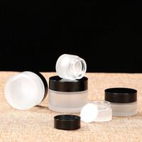 ingrosso occhiali cosmetici neri-Bicchieri bottiglie di crema glassa di vetro cosmetici maschera facciale bottiglia nero colore bianco coperchio imballaggio imbottigliamento nuovo arrivo 3rx L1
