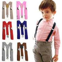 Wholesale baby boy clip resale online - Children Adjustable Clip On Braces Boys Girls Y Back Suspender Child Elastic Harness Clip solid Suspenders baby Plaid Elasti Braces TL1220
