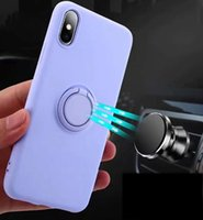 Wholesale iphone 7 plus car phone holder online – Magnet Suction Holder Case For Iphone Pro Max XR XS MAX Plus Car Metal Finger Ring Bracket Liquid Slicone Soft TPU Phone Cover