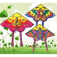 stunt kites 도매-3 PC 혼합 동물 연 90 * 50cm 무지개 나비 야외 접이식 어린이 스턴트 카이트 서핑 제어 막대 및 라인 무작위 색상