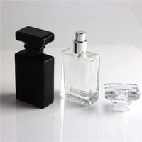 Wholesale cosmetics usa resale online - Hot Sale USA Canada Market ml Black Clear Glass Spray Perfume Bottle Square Spray Refillable Bottles Empty Cosmetics Container